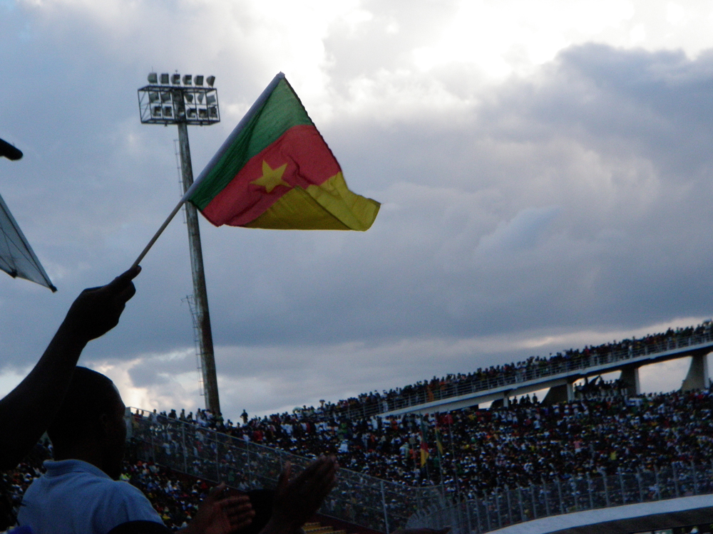 Waving the Cameroon flag
